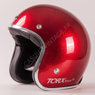 Promo Casque Jet Rouge Metalflake Paillete