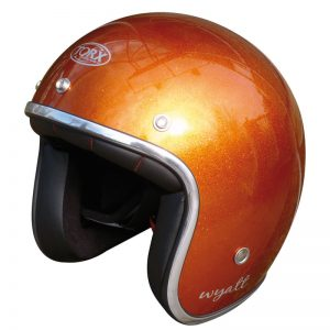 Casque jet orange pailleté