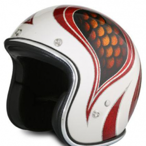Casque vintage jet métal flake red fish
